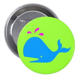 Andy Whale Singletons_aqua,magenta on green Pinback Button