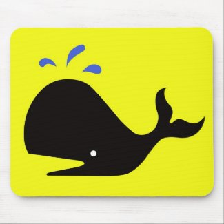 Andy Whale Singletons_black,blue on yellow mousepad