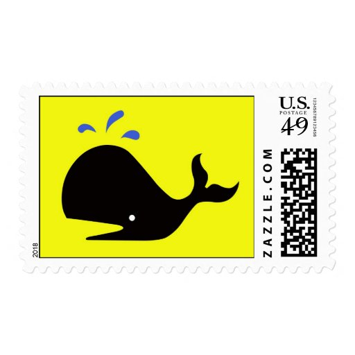 Andy Whale Singletons_black,blue on yellow postage