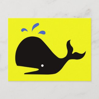 Andy Whale Singletons_black,blue on yellow postcard
