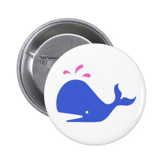 Andy Whale Singletons_blue,pink on white Pinback Button