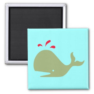 Andy Whale Singletons_green,red on teal magnet