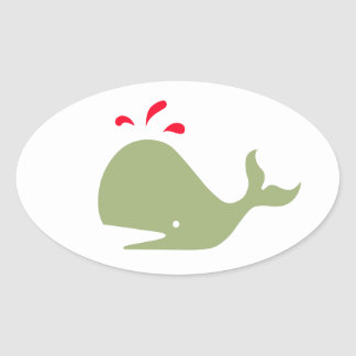Andy Whale Singletons_green,red on white Stickers