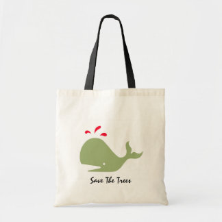 Andy Whale Singletons_green, red Save The Trees Budget Tote Bag