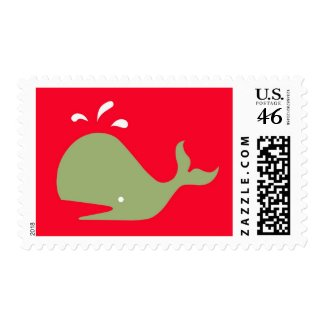 Andy Whale Singletons_green,white on red postage stamp