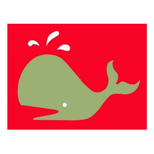 Andy Whale Singletons_green,white on red Postcard