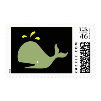 Andy Whale Singletons_green,yellow onblack postage stamp