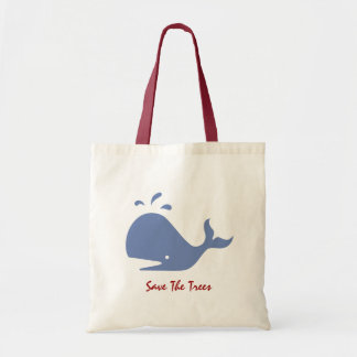 Andy Whale Singletons_grey blue Save The Trees Budget Tote Bag
