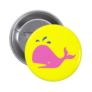 Andy Whale Singletons_pink,blue on yellow Button