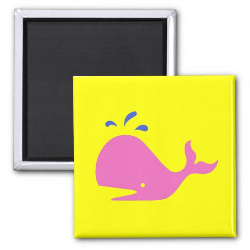 Andy Whale Singletons_pink,blue on yellow Magnet