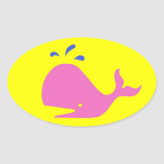 Andy Whale Singletons_pink,blue on yellow Oval Stickers