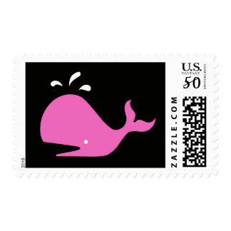 Andy Whale Singletons_pink,white on black postage