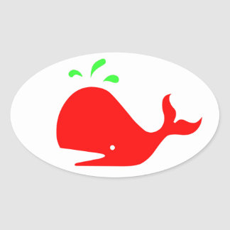 Andy Whale Singletons_red,green on white Oval Stickers
