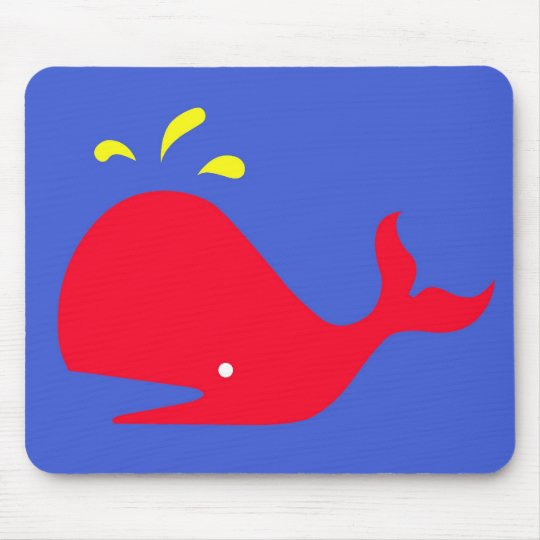 Andy Whale Singletons_red,yellow on blue Mouse Pad