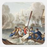 Anécdota en la batalla de Trafalgar Pegatina Cuadrada