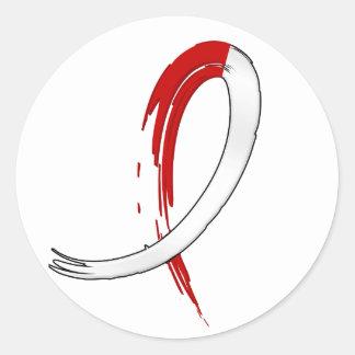 Anemia aplástica de la cinta blanca roja de la pegatina redonda