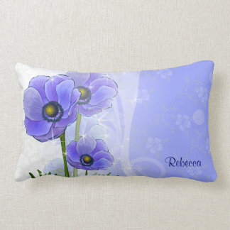 Anémona azul personalizada floral almohada