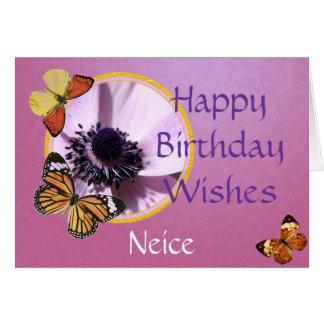 Anémona de la lila tarjeta de felicitación