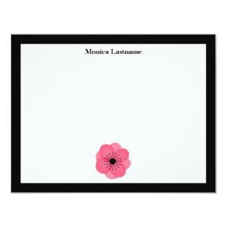 """Anémona francesa Notecards plano de las rosas Invitación 4.25"""" X 5.5"""""""
