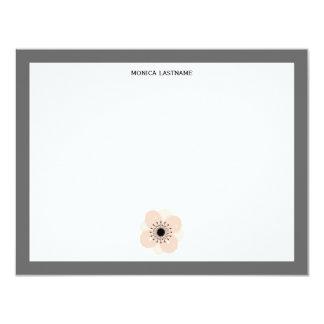 """Anémona francesa rosada Notecards plano Invitación 4.25"""" X 5.5"""""""