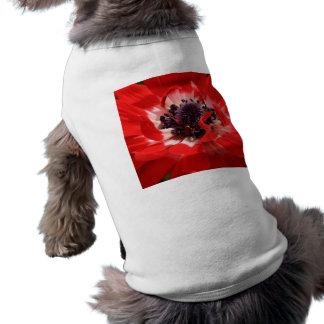 Anémona roja playera sin mangas para perro