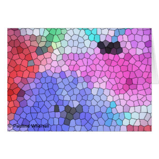 Anémonas del mosaico del vitral del © P Wherrell Tarjeta De Felicitación