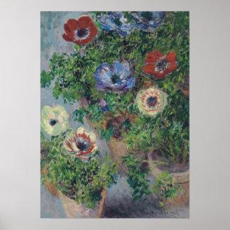 Anémonas en el pote, Claude Monet, 1885 Posters