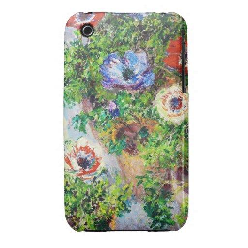 Anémonas en pintura de la flor de Claude Monet del Case-Mate iPhone 3 Cárcasa