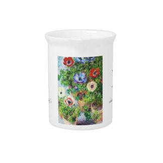 Anémonas en pintura de la flor de Claude Monet del Jarras Para Bebida