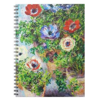 Anémonas en pintura de la flor de Claude Monet del Cuadernos