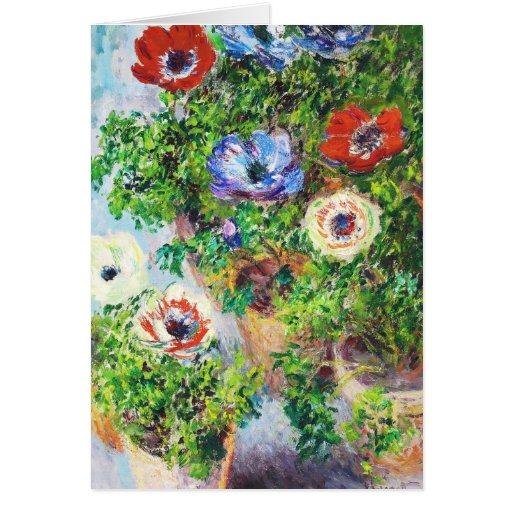 Anémonas en pintura de la flor de Claude Monet del Tarjeton