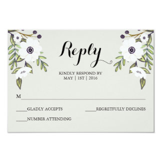 """Anémonas pintadas - casar la tarjeta de RSVP Invitación 3.5"""" X 5"""""""