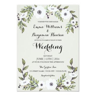 Anémonas pintadas - invitación floral del boda