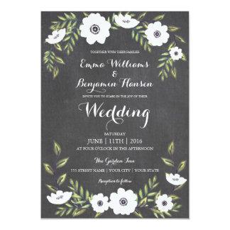 Anémonas pintadas pizarra - invitación del boda
