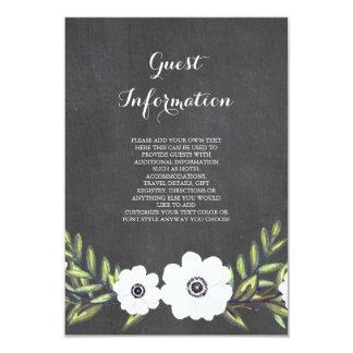 """Anémonas pintadas pizarra - tarjeta de información invitación 3.5"""" x 5"""""""