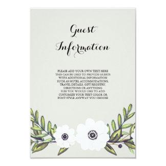 """Anémonas pintadas - tarjeta de información invitación 3.5"""" x 5"""""""