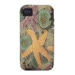 Anémonas verdes gigantes y estrellas de mar ocres Case-Mate iPhone 4 funda