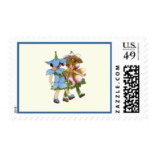 Anémonas y Bluets Timbre Postal