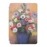 Anémonas y lila en un florero azul, después de cubierta de iPad mini