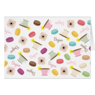Anémonas y TeacupsNotecard de Macarons del francés Tarjeta Pequeña