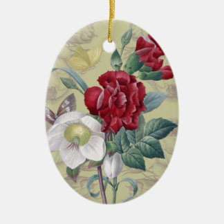 Anemone And Carnation Ceramic Ornament