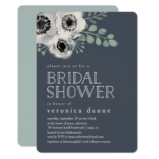 Anemone And Eucalyptus Bridal Shower Invitation Zazzle Com