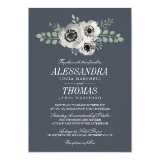 Anemone and Eucalyptus Floral Wedding Card