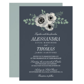 Anemone and Eucalyptus Floral Wedding Invitation