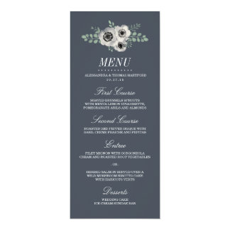 Anemone and Eucalyptus Wedding Menu Card