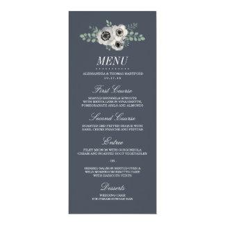 Anemone and Eucalyptus Wedding Menu Card