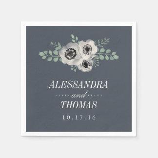 Anemone and Eucalyptus Wedding Napkin