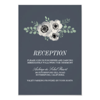 Anemone and Eucalyptus Wedding Reception Card