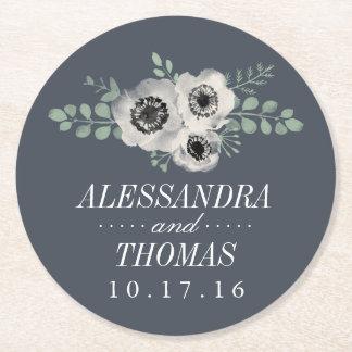 Anemone and Eucalyptus Wedding Round Paper Coaster