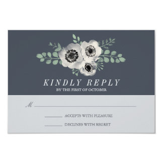 Anemone and Eucalyptus Wedding RSVP Response Card